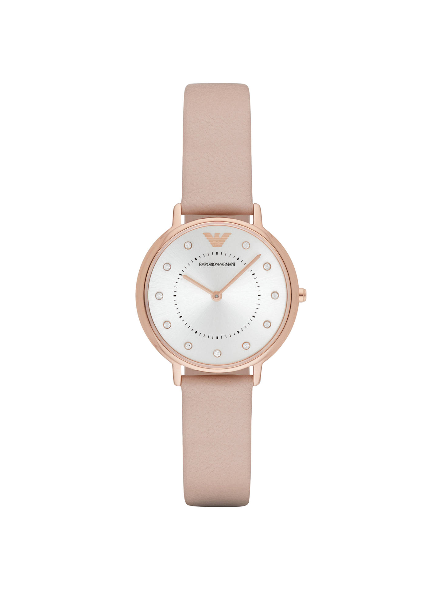 d4e566ed3b Buy Emporio Armani AR2510 Women's Crystal Leather Strap Watch, Blush  Pink/Silver Online at ...