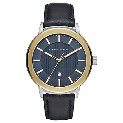 armani exchange men's date leather strap watch