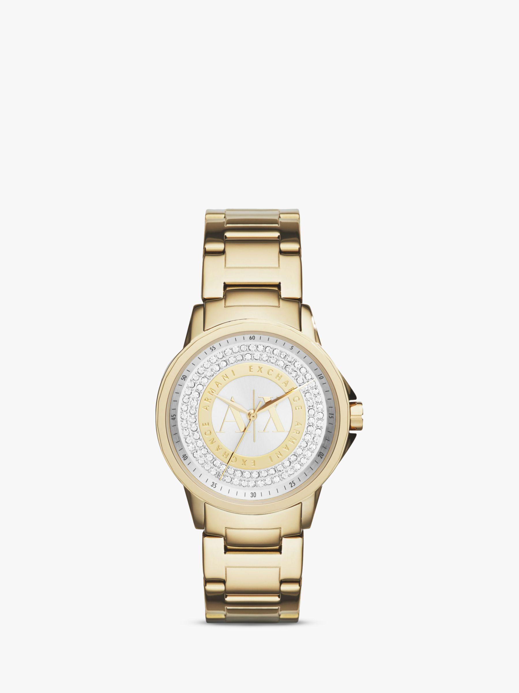 Armani Exchange Armani Exchange AX4321 Women's Crystal Bracelet Strap Watch, Gold/Silver