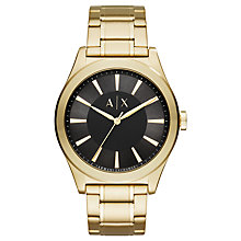 Buy Armani Exchange AX2328 Men's Bracelet Strap Watch, Gold/Black Online at johnlewis.com