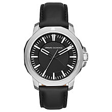 Buy Armani Exchange AX1902 Men's Leather Strap Watch, Black Online at johnlewis.com