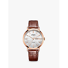 Buy Rotary GS05304/02 Men's Windsor Day Date Leather Strap Watch, Tan/Silver Online at johnlewis.com