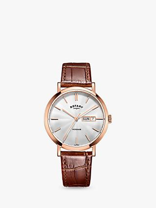Rotary GS05304/02 Men's Windsor Day Date Leather Strap Watch, Tan/Silver