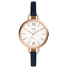 Buy Fossil ES4355 Women's Annette Leather Strap Watch, Blue Online at johnlewis.com