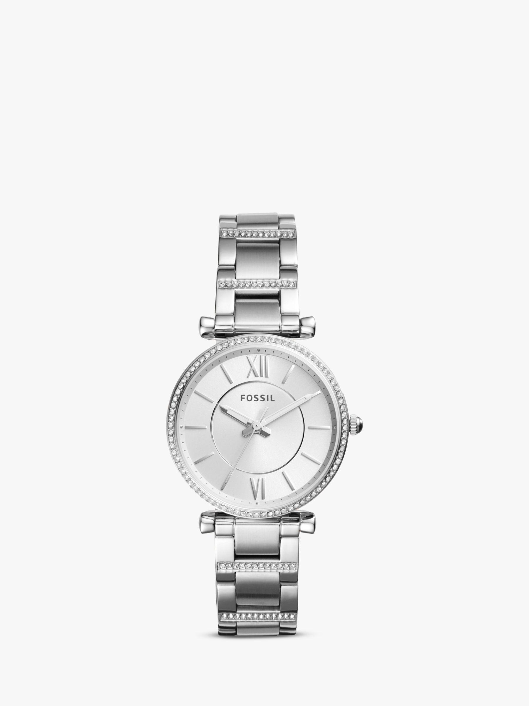 Fossil Fossil ES4341 Women's Carlie Bracelet Strap Watch, Silver
