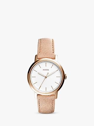 Fossil ES4185 Women's Neely Leather Strap Watch, Brown/White