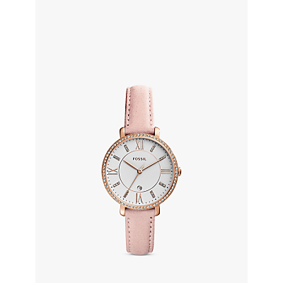 Fossil ES4303 Women's Jacqueline Date Suede Leather Strap Watch, Light Pink/White