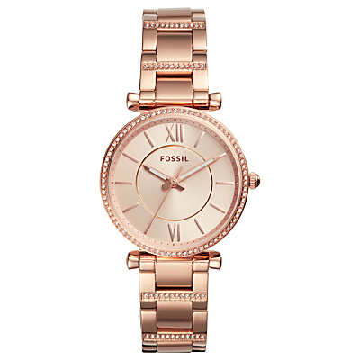 Fossil ES4301 Women's Carlie Bracelet Strap Watch, Rose Gold