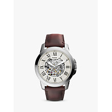 Buy Fossil ME3099 Men's Grant Skeleton Automatic Leather Strap Watch, Brown/White Online at johnlewis.com