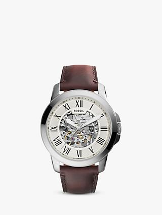 Fossil ME3099 Men's Grant Skeleton Automatic Leather Strap Watch, Brown/White