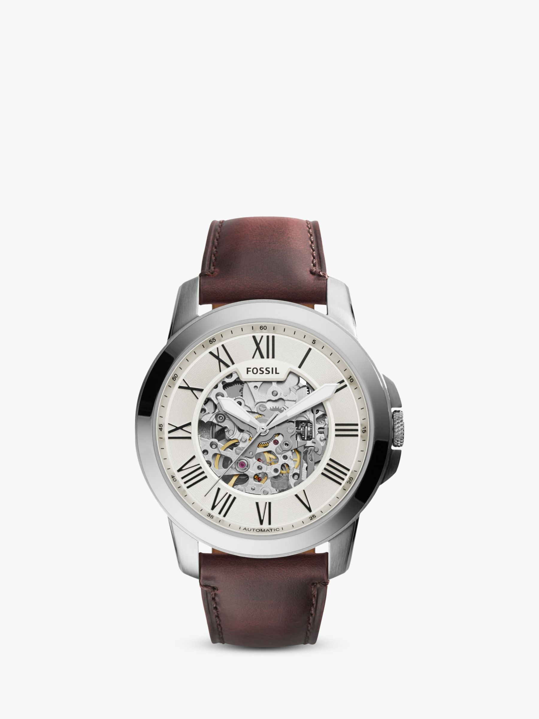 Fossil Fossil ME3099 Men's Grant Skeleton Automatic Leather Strap Watch, Brown/White