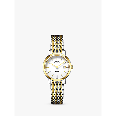 Image of Rotary LB05301/01 Women's Windsor Date Bracelet Strap Watch, Silver/Gold