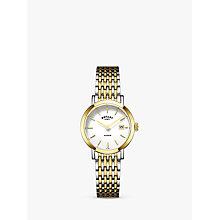 Buy Rotary LB05301/01 Women's Windsor Date Bracelet Strap Watch, Silver/Gold Online at johnlewis.com