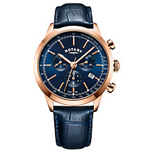 Buy Rotary Men's Cambridge Chronograph Date Leather Strap Watch Online at johnlewis.com