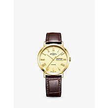 Buy Rotary GS05303/09 Men's Windsor Day Date Leather Strap Watch, Brown/Gold Online at johnlewis.com