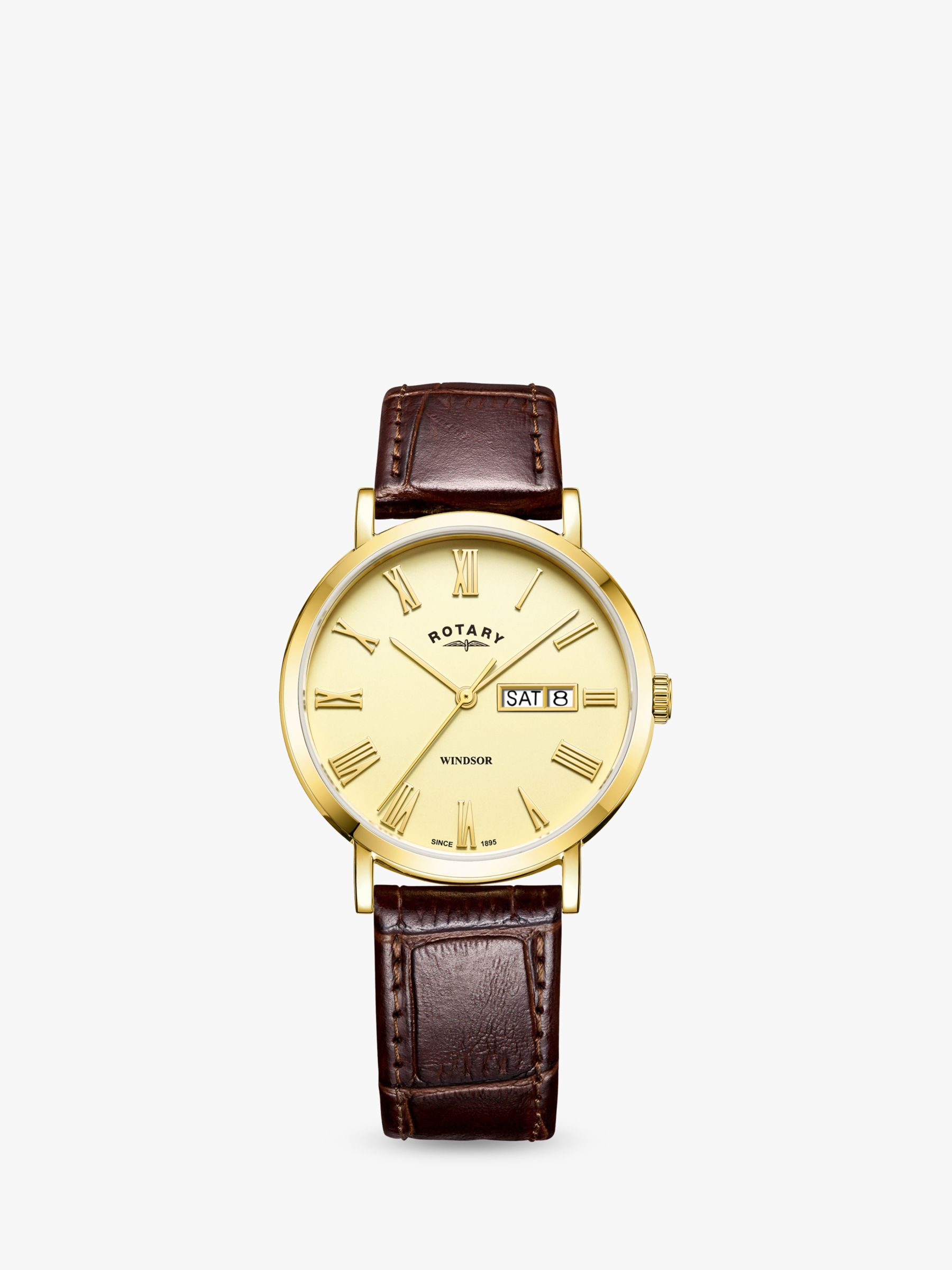 Rotary Rotary GS05303/09 Men's Windsor Day Date Leather Strap Watch, Brown/Gold