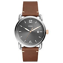 Buy Fossil FS5417 Men's Commuter Date Leather Strap Watch, Brown/Grey Online at johnlewis.com