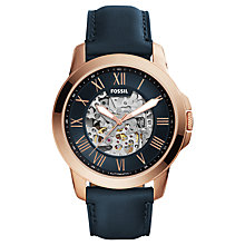 Buy Fossil ME3102 Men's Grant Skeleton Automatic Leather Strap Watch, Blue/Bronze Online at johnlewis.com
