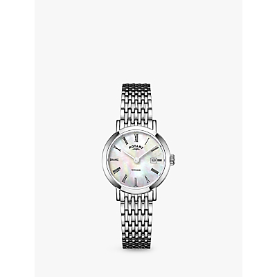 Image of Rotary LB05300/07 Women's Windsor Date Bracelet Strap Watch, Silver/Mother of Pearl