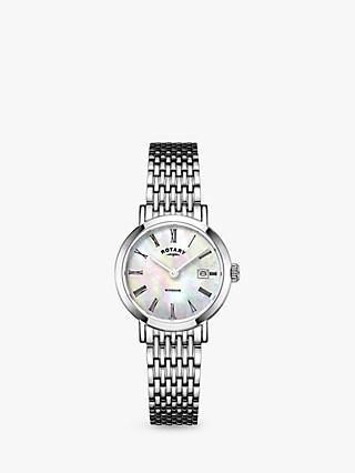 Rotary LB05300/07 Women's Windsor Date Bracelet Strap Watch, Silver/Mother of Pearl