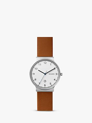 Skagen SKW6433 Men's Ancher Date Leather Strap, Tan/White