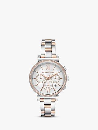 Michael Kors MK6558 Women's Sofie Chronograph Date Bracelet Strap Watch, Silver/Rose Gold