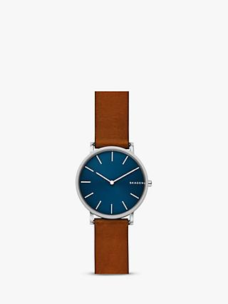 Skagen SKW6446 Men's Hagen Leather Strap Watch, Tan/Blue