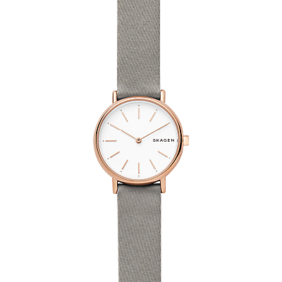 Skagen SKW2697P Signatur Women's Slim Satin Watch, Grey
