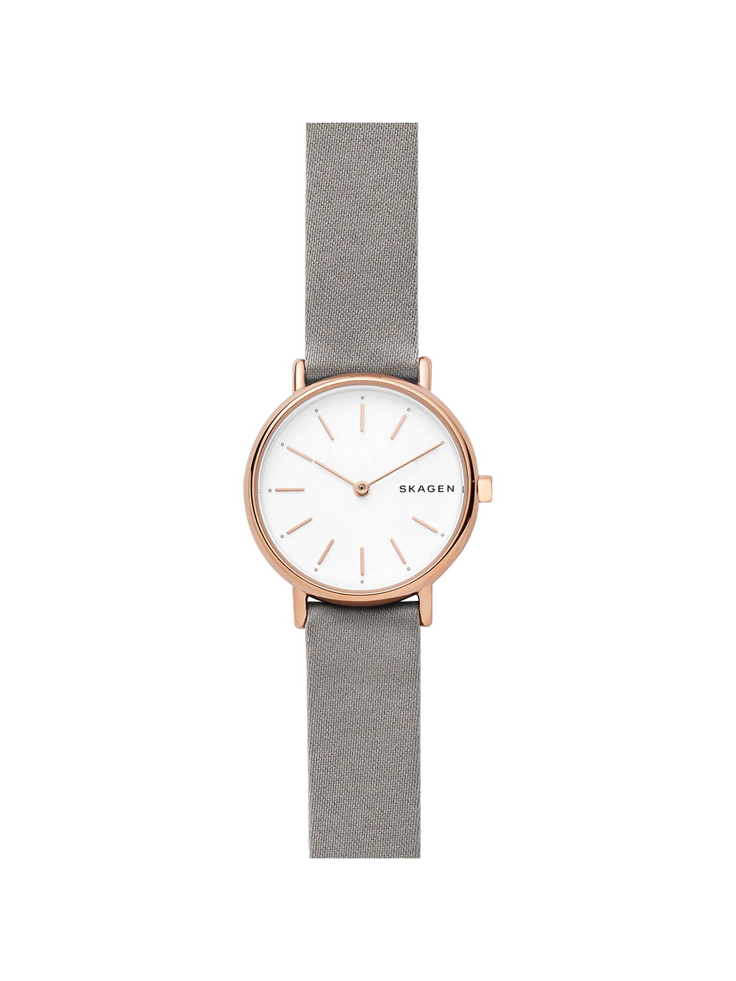 8f9430d7e Buy Skagen SKW2697P Women's Signatur Slim Satin Strap Watch, Grey/White  Online at johnlewis