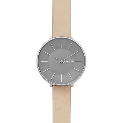 Skagen SKW2691 Women's Karolina Leather Strap Watch, Silver/Beige