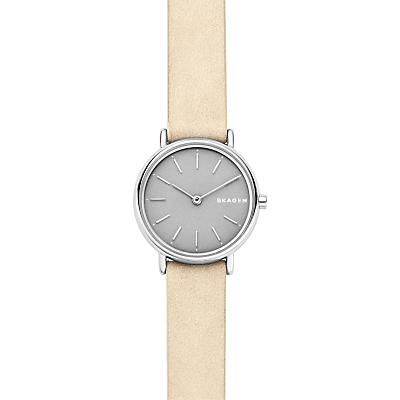 Skagen SKW2696P Women's Signatur Slim Nubuck Leather Watch, Beige/Silver
