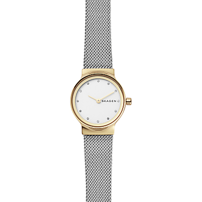 Skagen SKW2668 Women's Freja Leather Strap Watch, Black/White