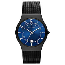 Buy Skagen T233XLTMN Men's Grenen 24 Hour Date Bracelet Strap Watch, Black/Blue Online at johnlewis.com