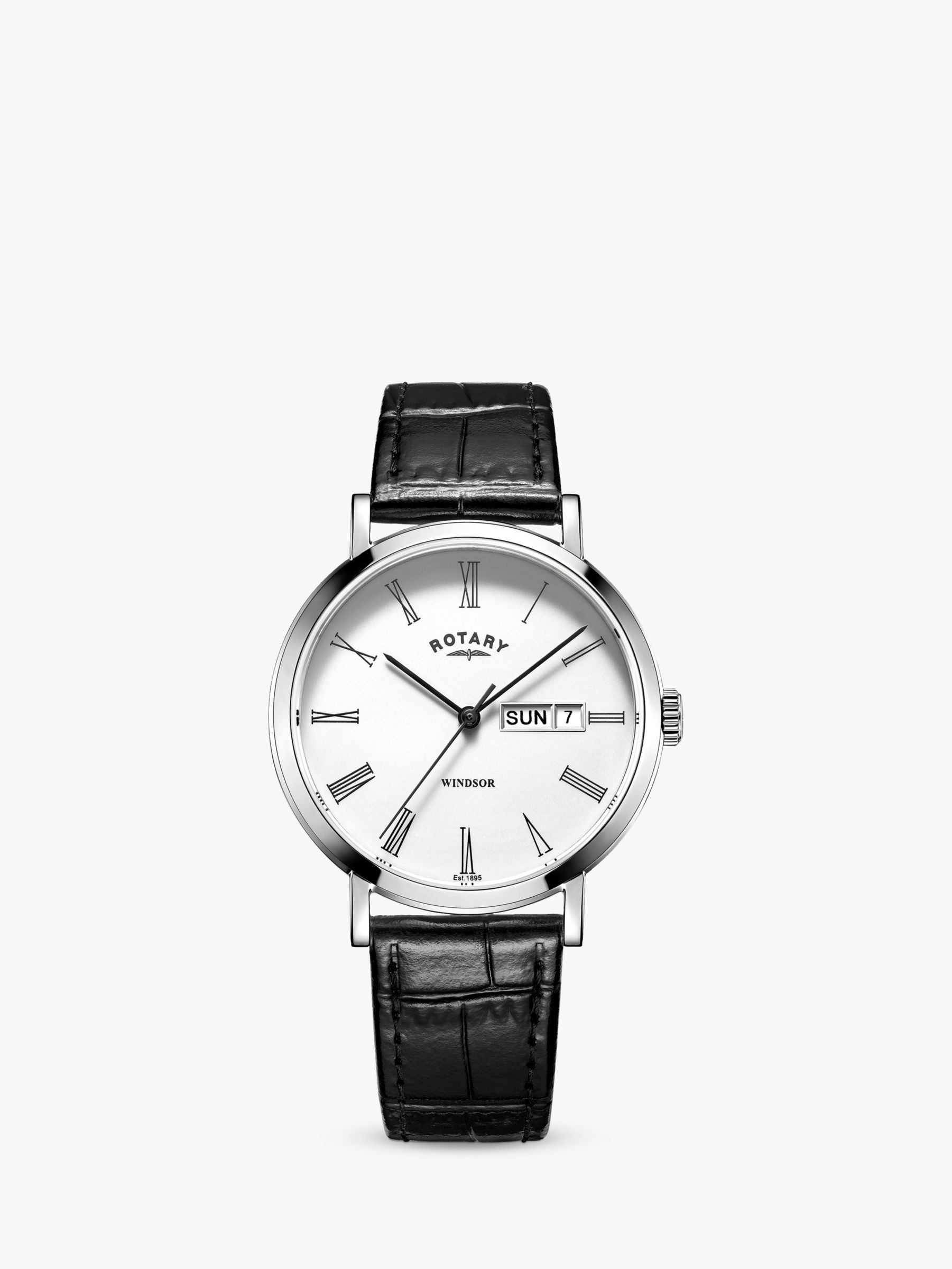 Rotary Rotary GS05300/01 Men's Windsor Day Date Leather Strap Watch, Black/White
