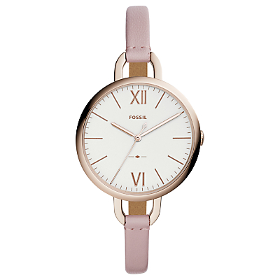 Fossil ES4356 Women's Annette Leather Strap Watch, Blush