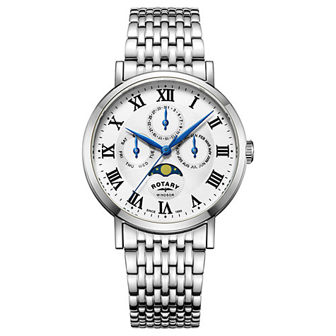 Buy Rotary GB05325/01 Men's Windsor Day Date Month Moonphase Bracelet Strap Watch, Silver/White Online at johnlewis.com