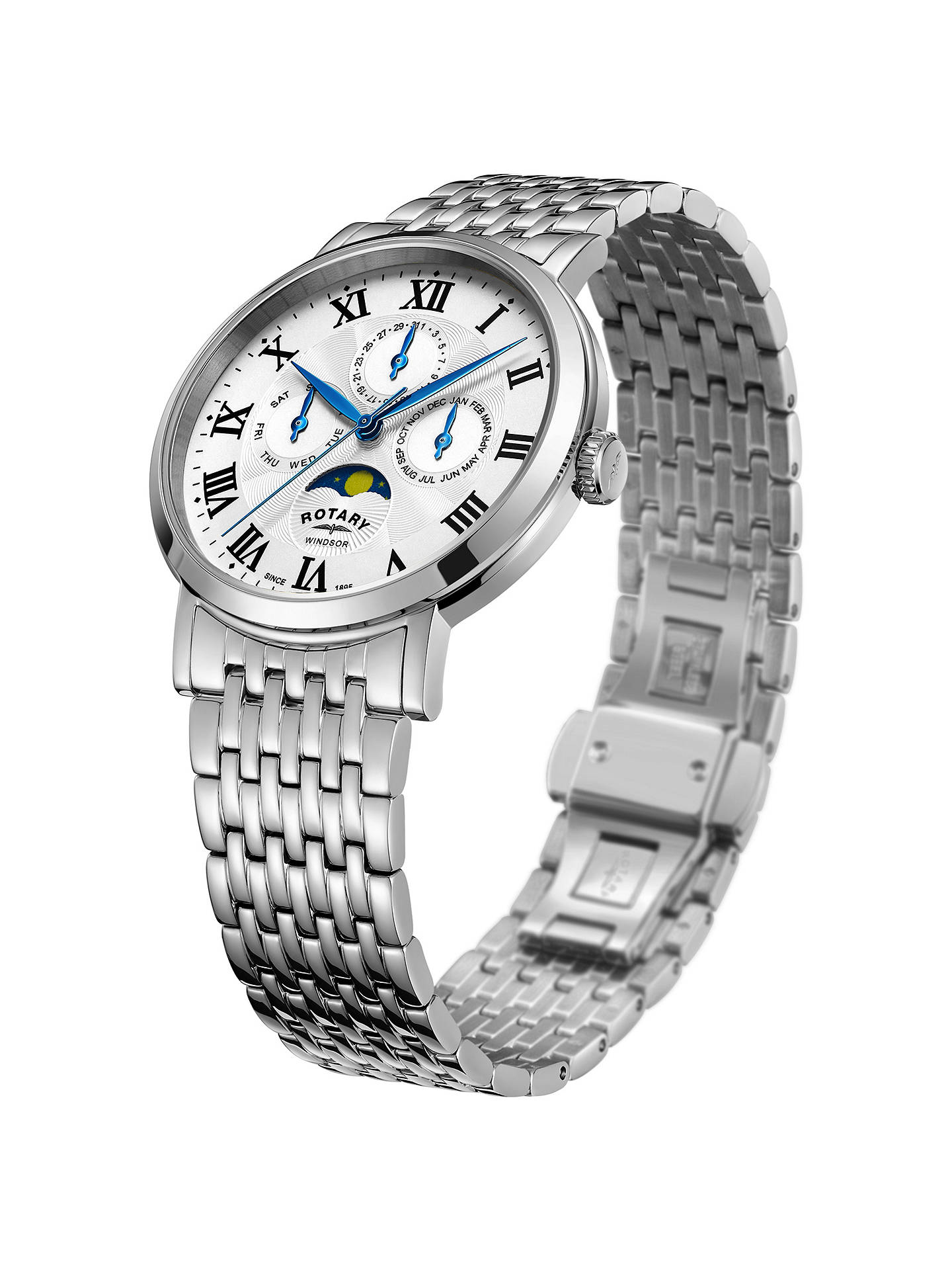 BuyRotary GB05325/01 Men's Windsor Day Date Month Moonphase Bracelet Strap Watch, Silver/White Online at johnlewis.com