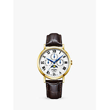 Buy Rotary GS05328/01 Men's Windsor Day Date Month Moonphase Leather Strap Watch, Dark Brown/White Online at johnlewis.com