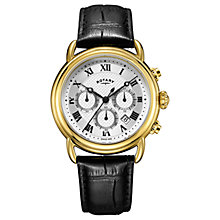Buy Rotary Men's Canterbury Chronograph Date Leather Strap Watch Online at johnlewis.com