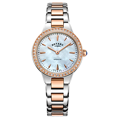 Rotary Women's Kensington Pave Set Bracelet Strap Watch