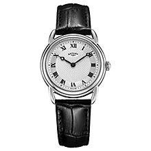 Buy Rotary LS05335/21 Women's Canterbury Leather Strap Watch, Black/Silver Online at johnlewis.com