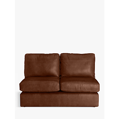 House by John Lewis Oliver Small 2 Seater Armless Leather Sofa, Dark Leg