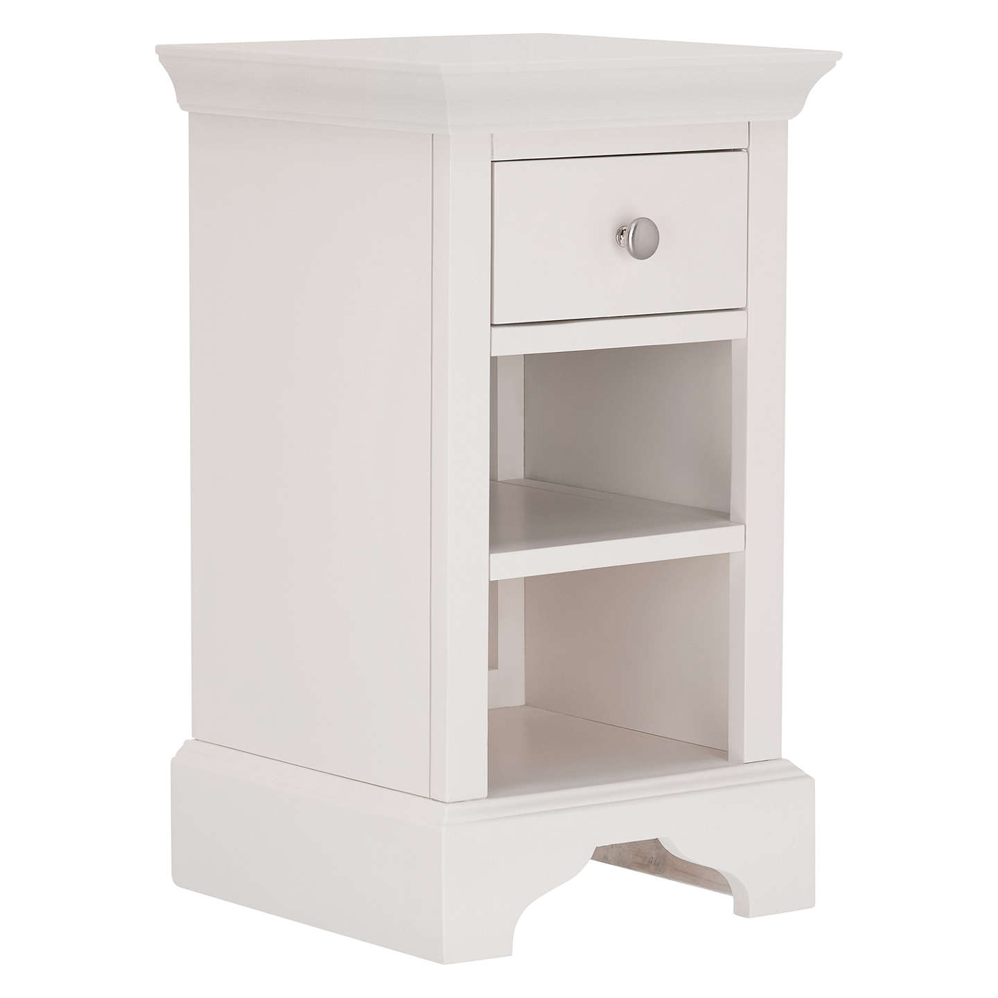 John Lewis Lymington 1 Drawer Bedside Table, White by John Lewis