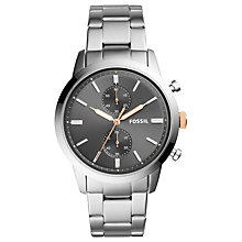 Buy Fossil Men's Townsman Chronograph Bracelet Strap Watch, Silver/Grey Online at johnlewis.com