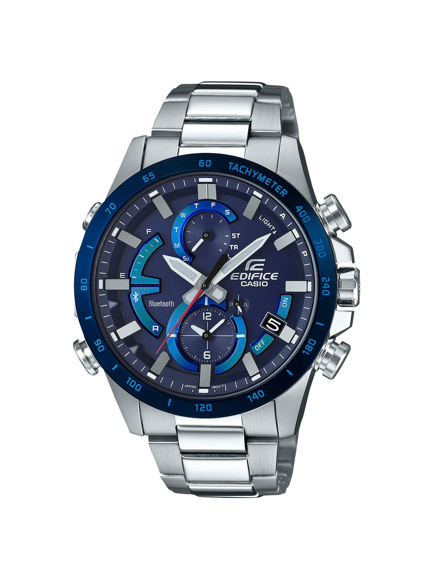 Buy Casio EQB-900DB-2AER Men's Edifice Chronograph Date Bluetooth Bracelet Strap Watch, Silver/Blue Online at johnlewis.com