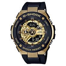 Buy Casio GST-400G-1A9ER Men's G-Shock Chronograph World Time Resin Strap Watch, Black/Gold Online at johnlewis.com