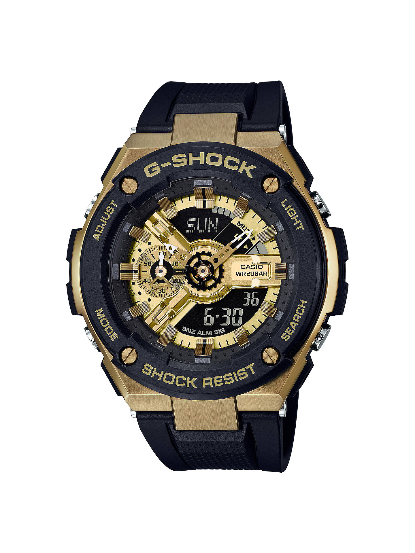 2f37e6ec06 View All Men's Watches. Buy Casio GST-400G-1A9ER Men's G-Shock Chronograph  World Time Resin Strap