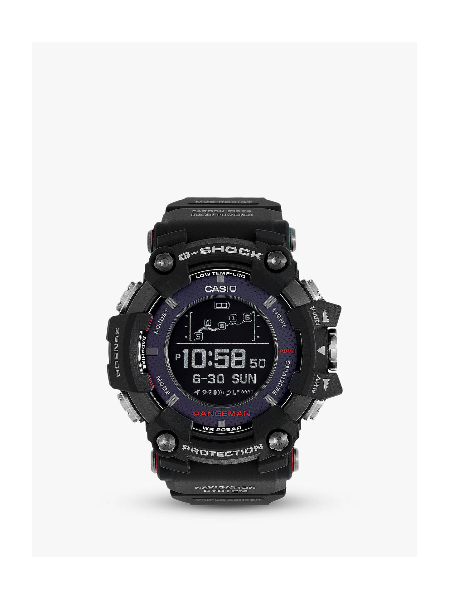 Casio Gpr B1000 1er Men S G Shock Rangeman Solar Gps Resin Strap Watch Black