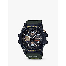 Buy Casio GWG-100-1A3ER Men's G-Shock Solar Mud Resist Resin Strap Watch, Green/Grey Online at johnlewis.com