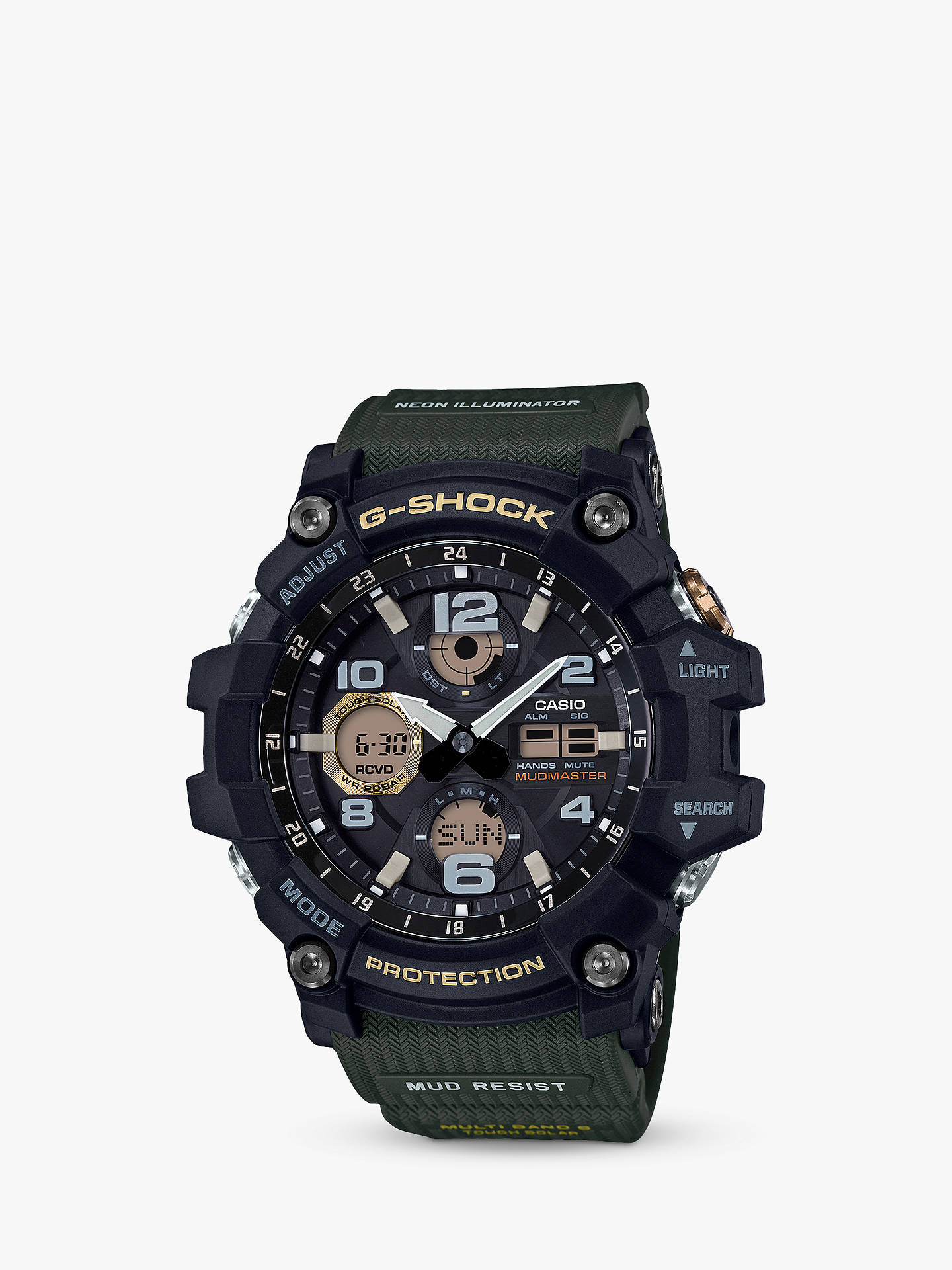 BuyCasio GWG-100-1A3ER Men's G-Shock Solar Mud Resist Resin Strap Watch, Green/Grey Online at johnlewis.com